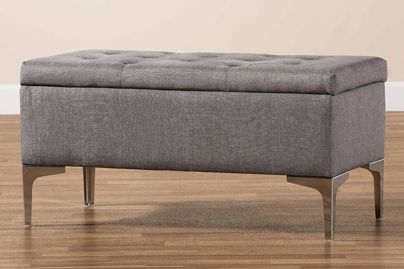 Keswick Grey Fabric Upholstered/Silver Finished Metal Storage Ottoman