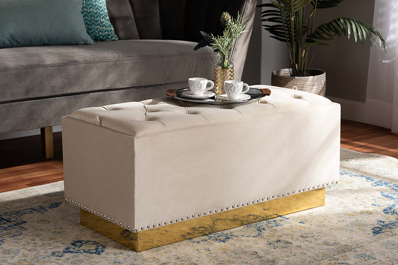 Derwent Beige Fabric Distressed Natural Wood/Black Metal 2-Piece Wheeled Storage Ottoman Set