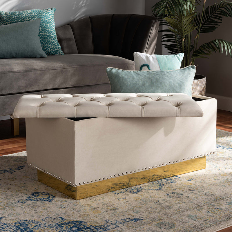 Manchester Beige Velvet Fabric Upholstered/Gold PU Leather Storage Ottoman