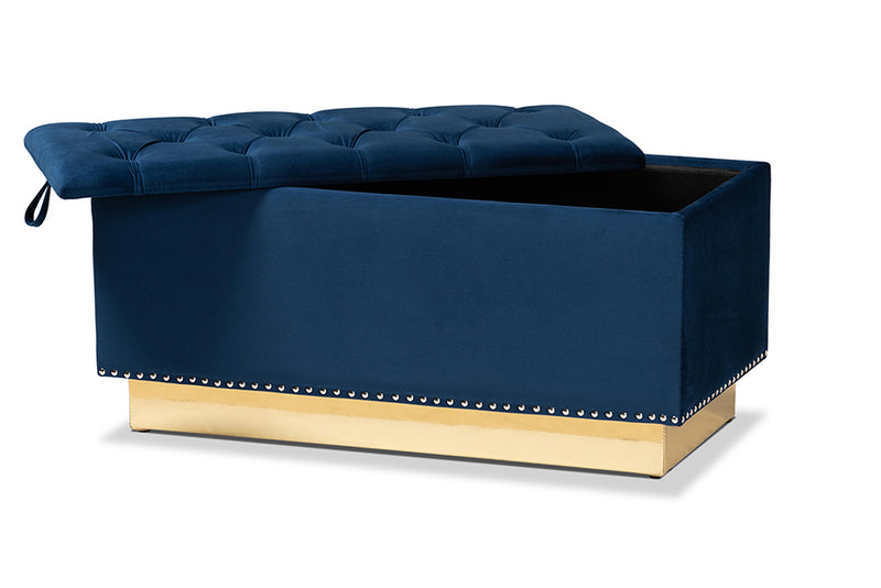Manchester Navy Blue Velvet Fabric Upholstered/Gold PU Leather Storage Ottoman