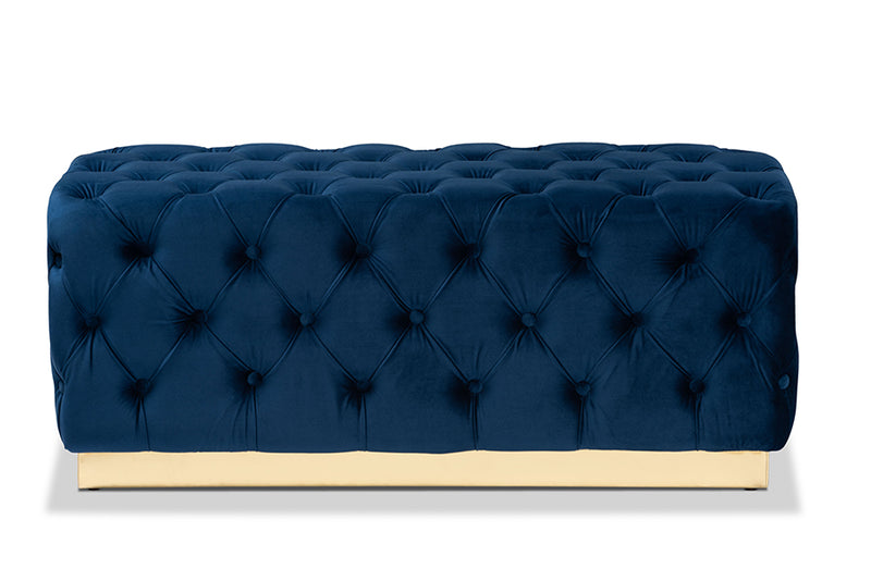 Lancashire Royal Blue Velvet Fabric Upholstered Gold Finished Round Cocktail Ottoman