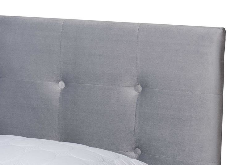 Armidale Gray Velvet Fabric Upholstered Panel Bed (Queen)