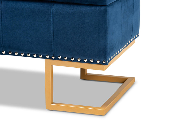 Charlotte Navy Blue Velvet Fabric Upholstered/Gold Finished Metal Storage Ottoman