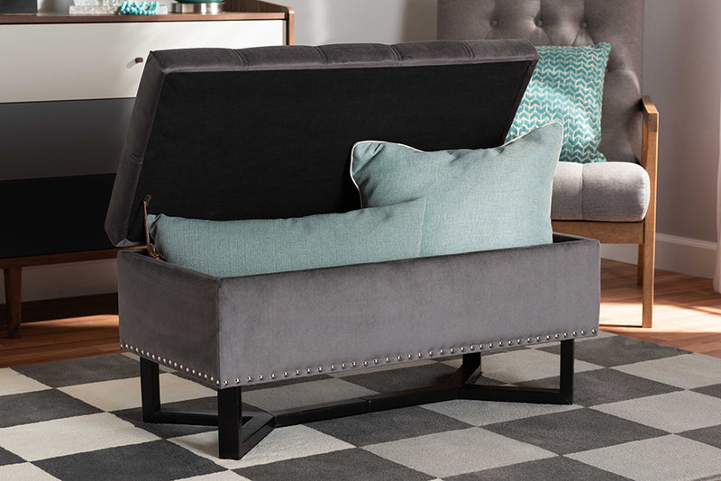 Keswick Charcoal Linen Fabric Upholstered/Greywashed Wood Cocktail Ottoman