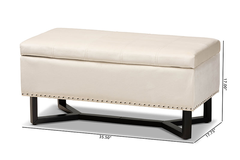 Charlotte Beige Velvet Fabric Upholstered/Dark Brown Finished Wood Storage Ottoman