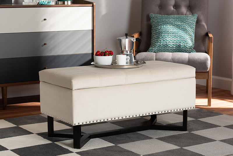 Geneva Grey Linen Fabric Upholstered/Greywashed Wood Cocktail Ottoman