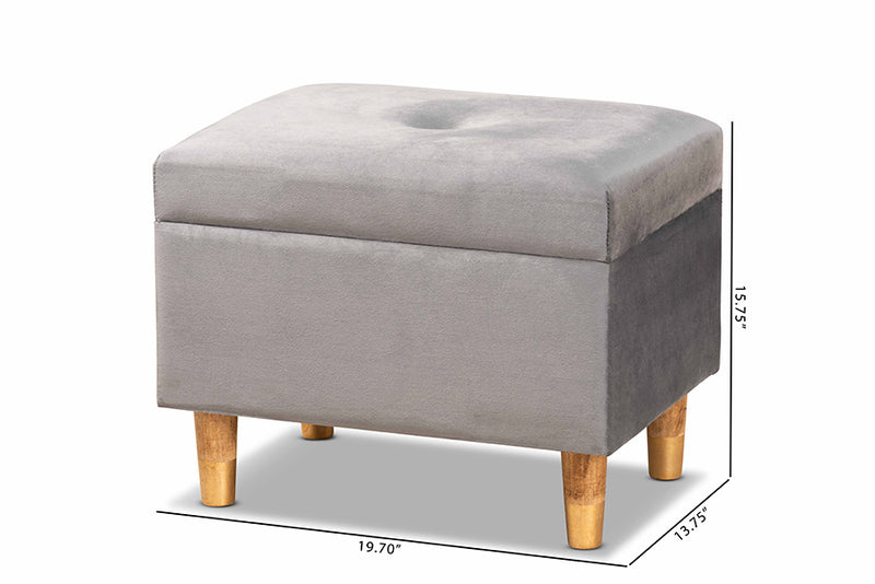 Cassandra Grey Velvet Fabric Upholstered/Oak Brown Finished Wood Storage Ottoman
