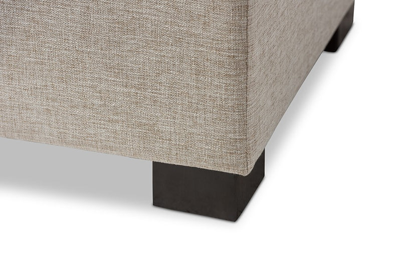 Roanoke Beige Fabric Upholstered Grid-Tufting Storage Ottoman Bench