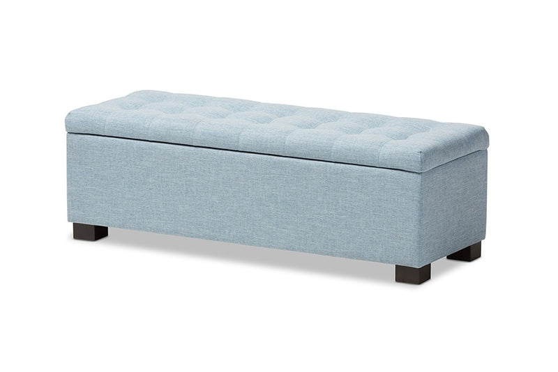 Roanoke Light Blue Fabric Upholstered Grid-Tufting Storage Ottoman Bench