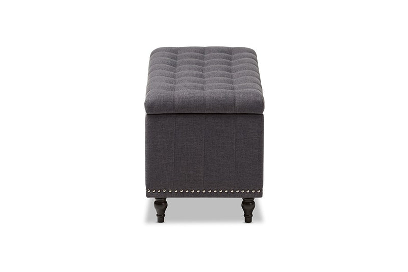 Kaylee Dark Grey Fabric Upholstered Button-Tufting Storage Ottoman Bench