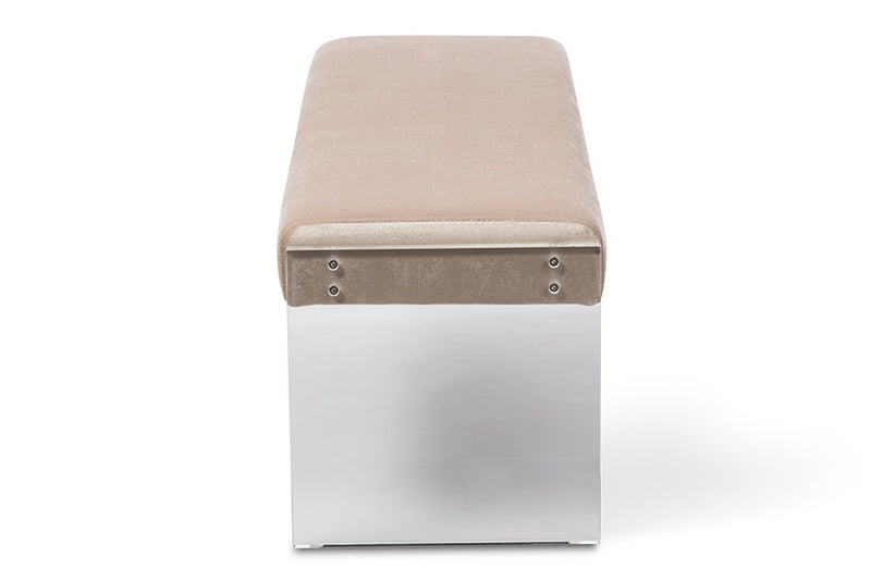 Hildon Beige Microsuede Fabric Upholstered Lux Bench with Paneled Acrylic Legs