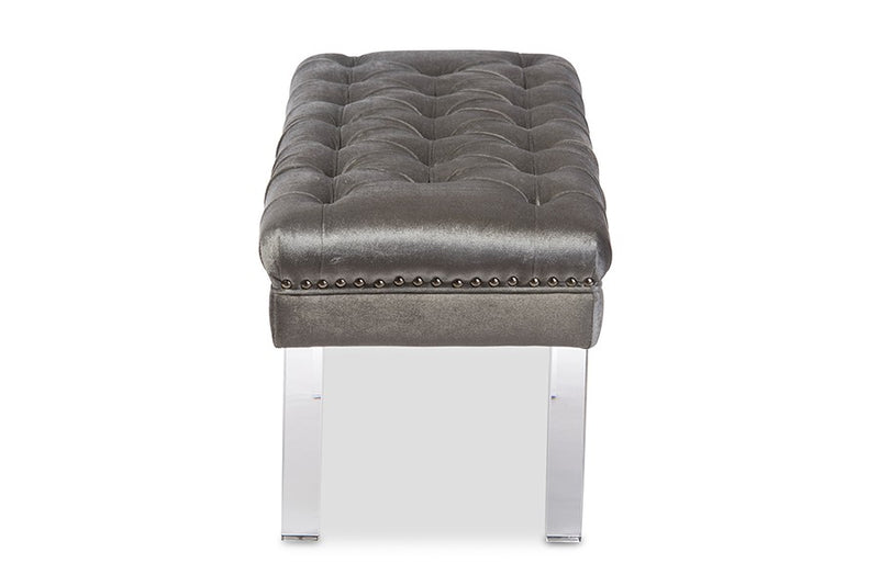 Edna Rectangular Grey Microsuede Fabric Upholstered Lux Tufted Ottoman Bench