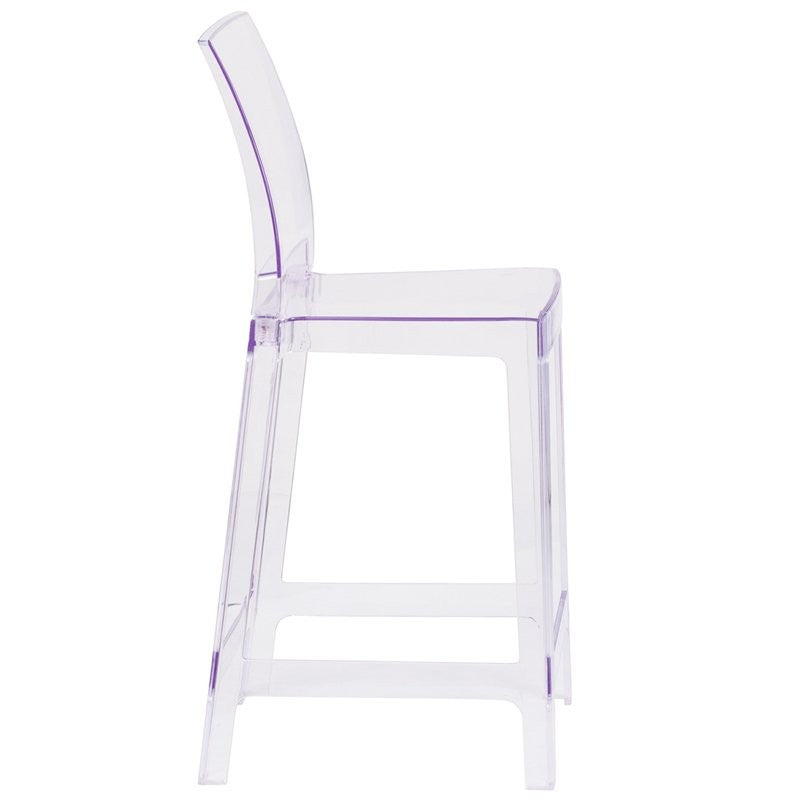Pocas Ghost Counter Stool with Square Back in Transparent Crystal