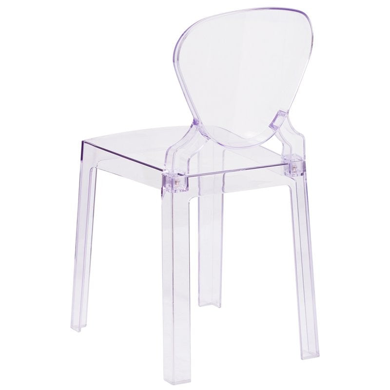 Pocas Ghost Chair with Tear Back in Transparent Crystal