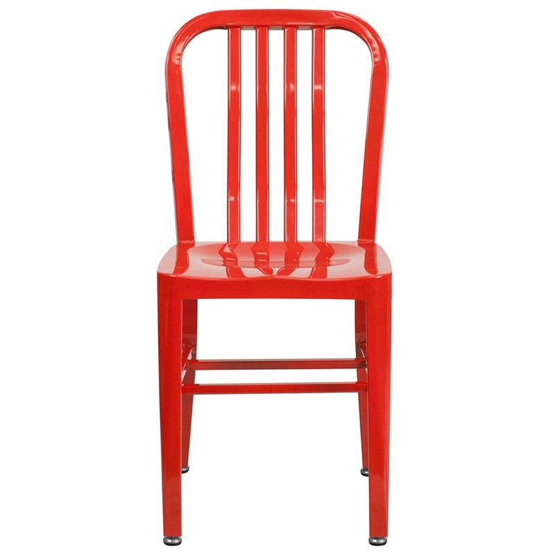 Brimmes Red Metal Chair w/Vertical Slat Back Back for Patio/Bar/Restaurant