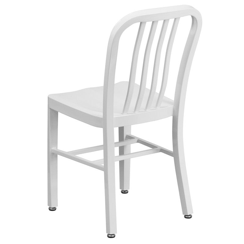Brimmes White Metal Chair w/Vertical Slat Back Back for Patio/Bar/Restaurant