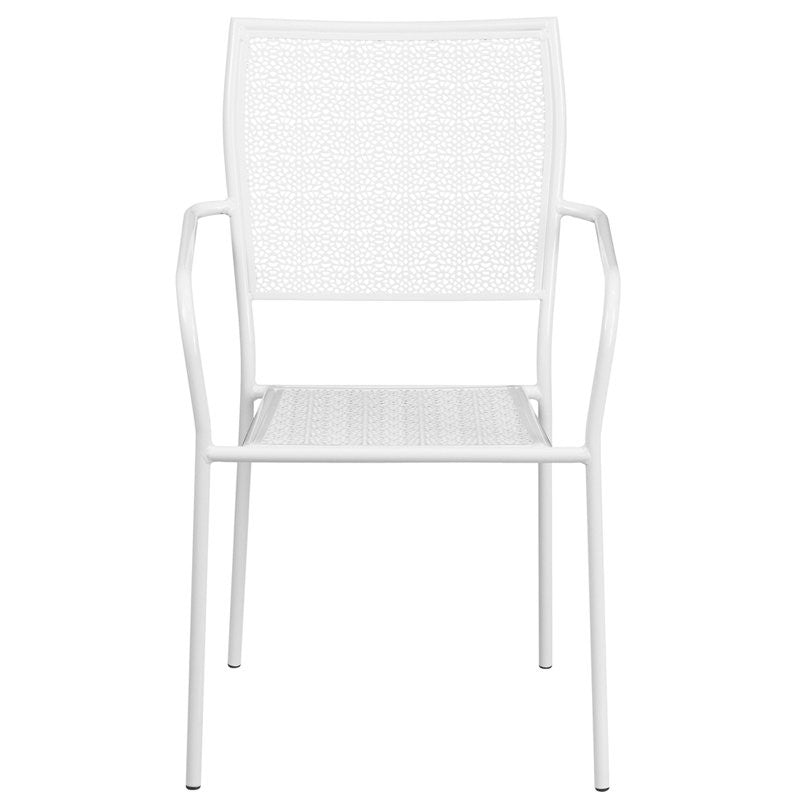 Westbury White Steel Arm Chair w/Square Back for Patio/Bar/Restaurant