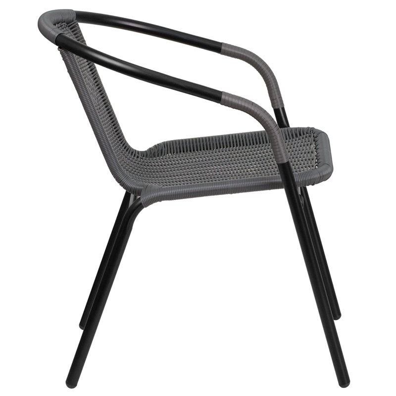Skovde Gray Rattan Stack Chair for Patio/Bar/Restaurant
