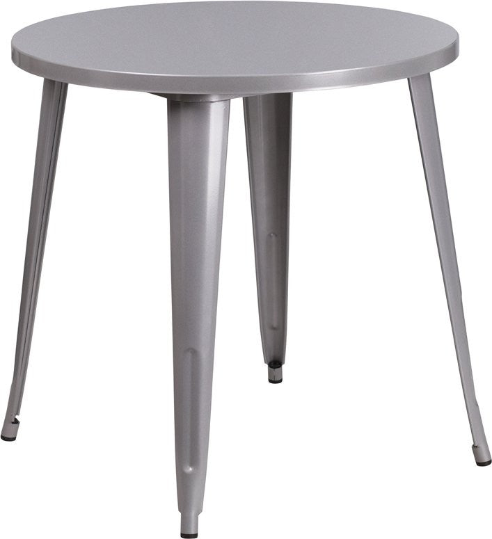 Brimmes Round 30'' Silver Metal Table for Patio/Bar