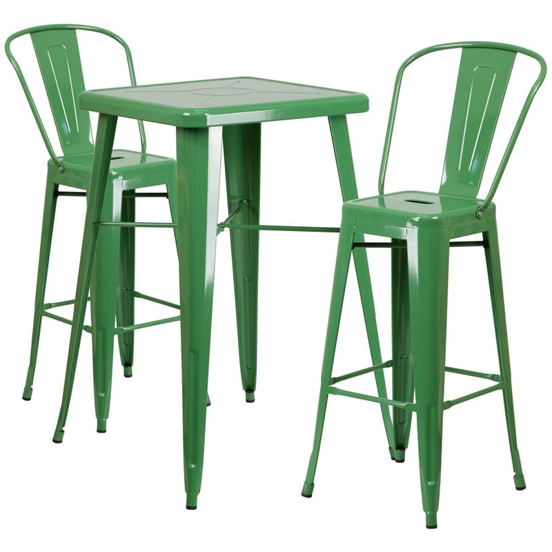 Brimmes 3pcs Square 23.75'' Green Metal Table w/2 Barstool