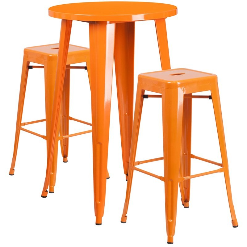 Brimmes 3pcs Round 24'' Orange Metal Table w/2 Square Seat Backless Barstool