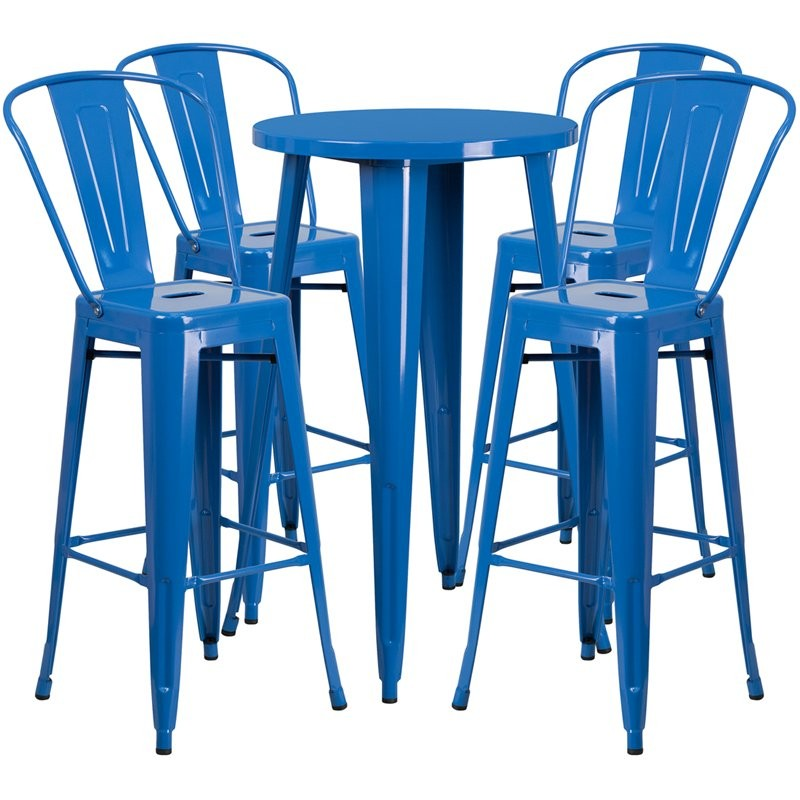 Brimmes 5pcs Round 24'' Blue Metal Table w/4 Cafe Barstool