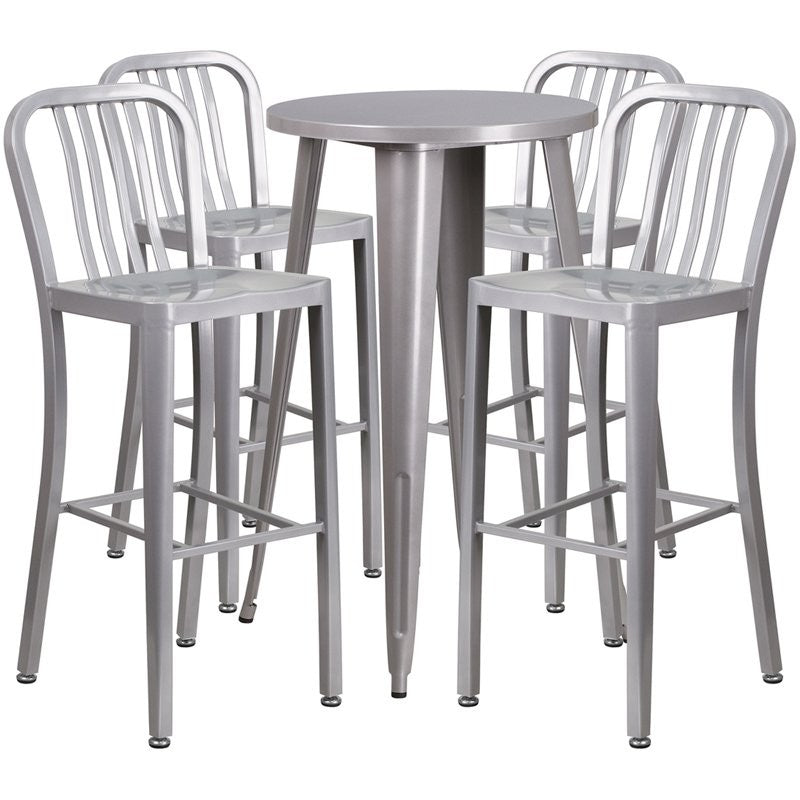 Brimmes 5pcs Round 24'' Silver Metal Table w/4 Vertical Slat Back Barstool