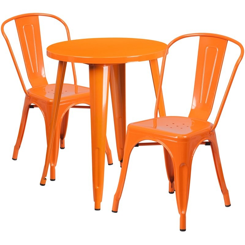 Brimmes 3pcs Round 24'' Orange Metal Table w/2 Cafe Chairs