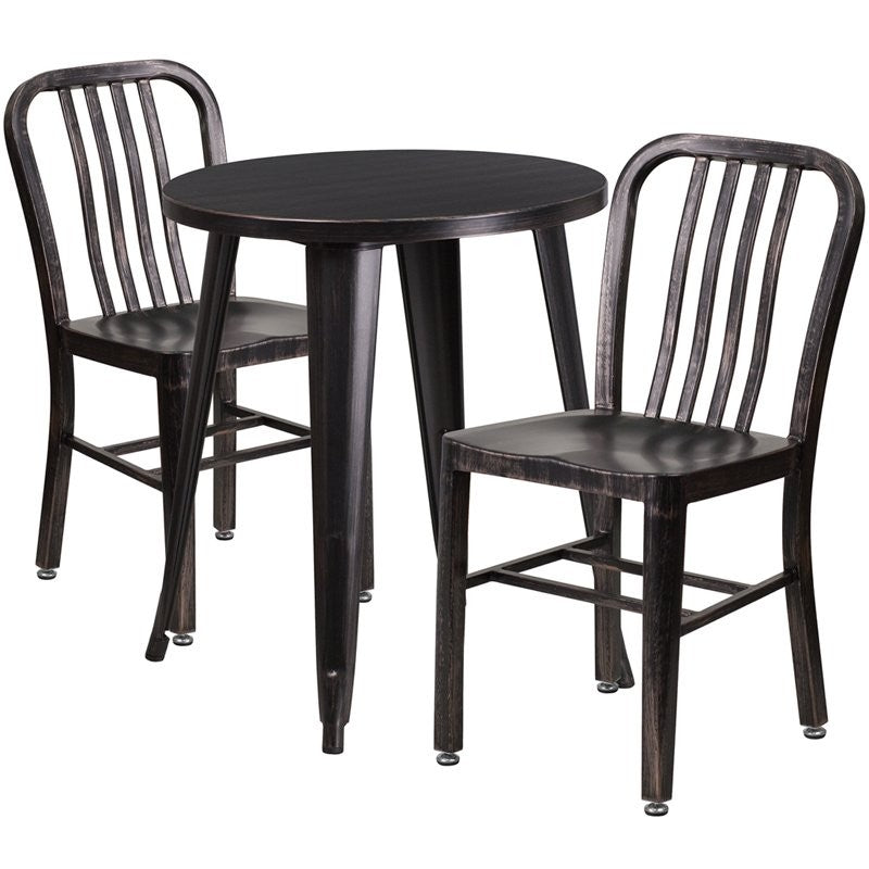 Brimmes 3pcs Round 24'' Black-Antique Gold Metal Table w/2 Vertical Slat Back Chairs