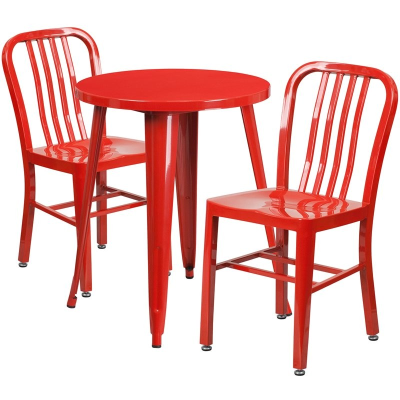 Brimmes 3pcs Round 24'' Red Metal Table w/2 Vertical Slat Back Chairs