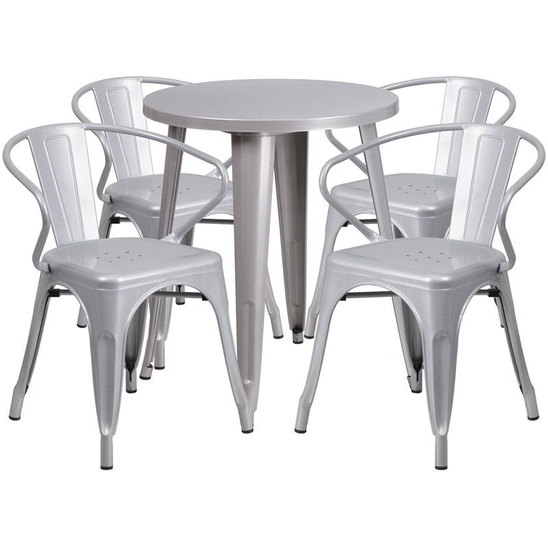 Brimmes 5pcs Round 24'' Silver Metal Table w/4 Arm Chairs