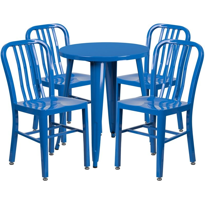 Brimmes 5pcs Round 24'' Blue Metal Table w/4 Vertical Slat Back Chairs