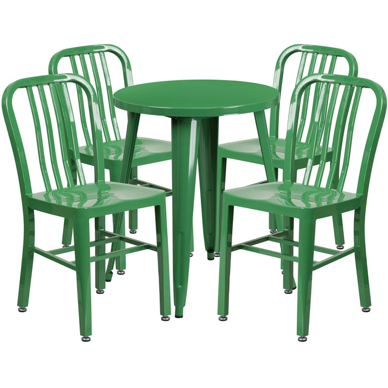 Brimmes 5pcs Round 24'' Green Metal Table w/4 Vertical Slat Back Chairs