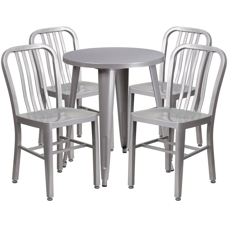 Brimmes 5pcs Round 24'' Silver Metal Table w/4 Vertical Slat Back Chairs