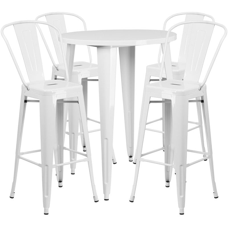 Brimmes 5pcs Round 30'' White Metal Table w/4 Cafe Barstool