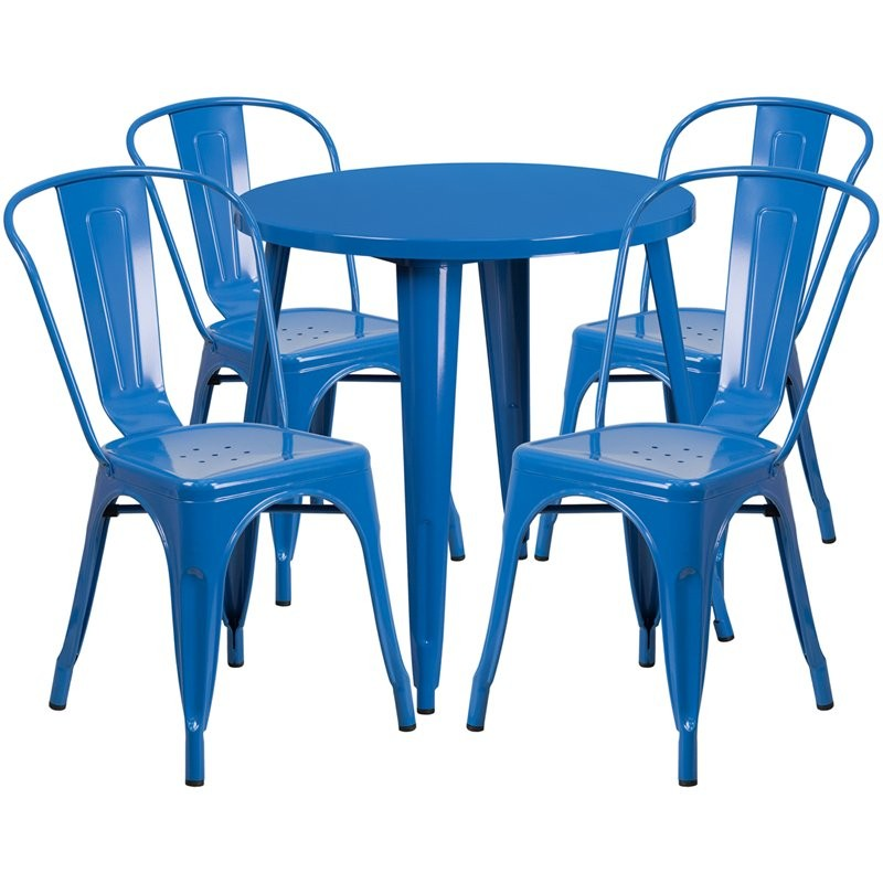 Brimmes 5pcs Round 30'' Blue Metal Table w/4 Cafe Chairs