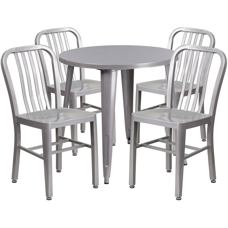 Brimmes 5pcs Round 30'' Silver Metal Table w/4 Vertical Slat Back Chairs