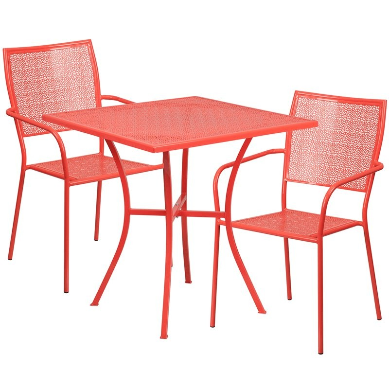 Westbury 3pcs Square 28'' Coral Steel Table w/2 Square Back Chairs