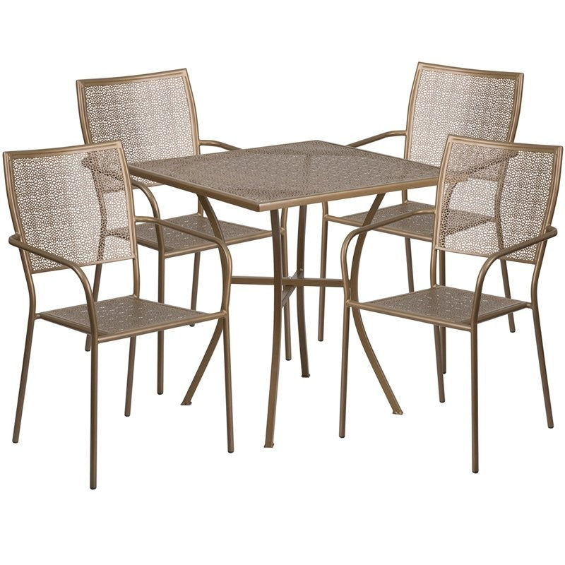 Westbury 5pcs Square 28'' Gold Steel Table w/4 Square Back Chairs