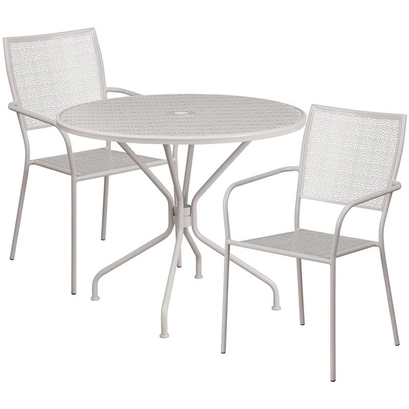 Westbury 3pcs Round 35.25'' Light Gray Steel Table w/2 Square Back Chairs