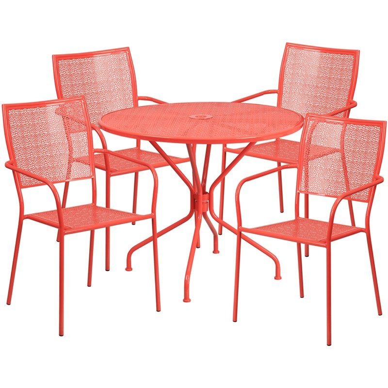 Westbury 5pcs Round 35.25'' Coral Steel Table w/4 Square Back Chairs