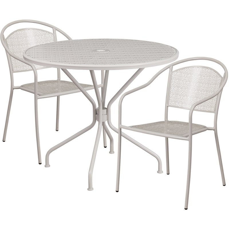 Westbury 3pcs Round 35.25'' Light Gray Steel Table w/2 Round Back Chairs