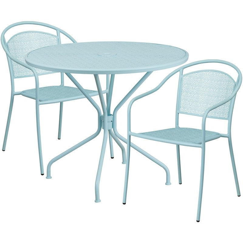 Westbury 3pcs Round 35.25'' Sky Blue Steel Table w/2 Round Back Chairs
