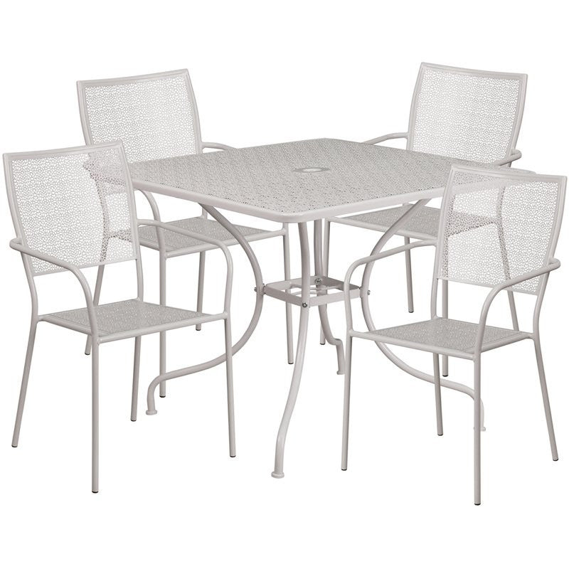 Westbury 5pcs Square 35.5'' Light Gray Steel Table w/4 Square Back Chairs