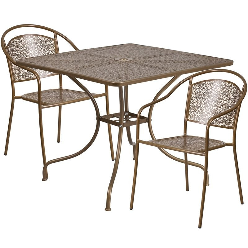 Westbury 3pcs Square 35.5'' Gold Steel Table w/2 Round Back Chairs