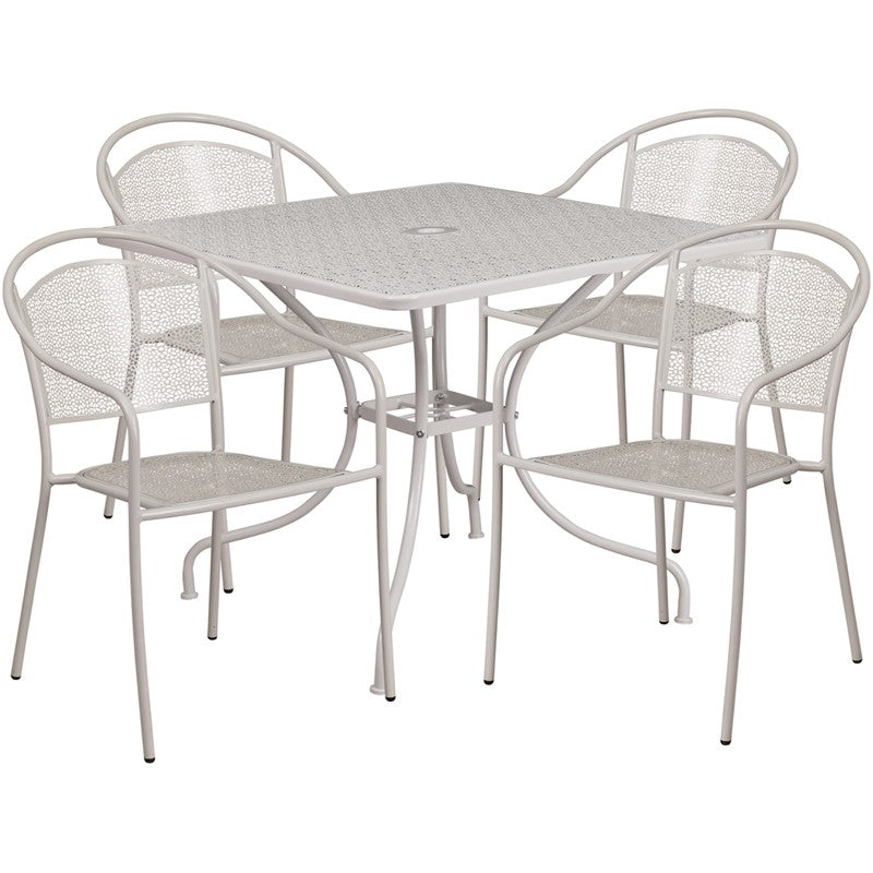 Westbury 5pcs Square 35.5'' Light Gray Steel Table w/4 Round Back Chairs