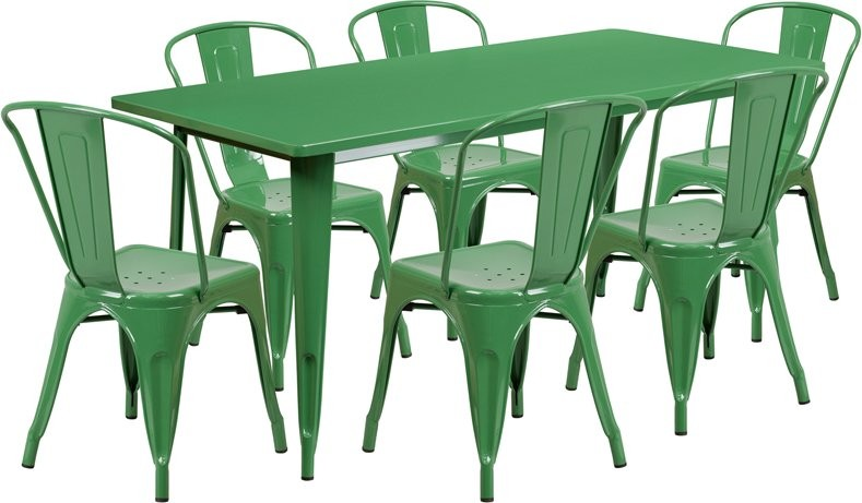 Brimmes 7pcs Rectangular 31.5'' x 63'' Green Metal Table w/6 Stack Chairs