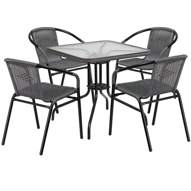 Skovde 5pcs Square 28'' Glass Metal Table w/4 Gray Rattan Stack Chairs