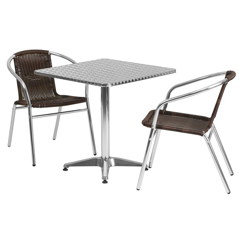 Skovde 3pcs Square 27.5'' Aluminum Table w/2 Dark Brown Rattan Chairs