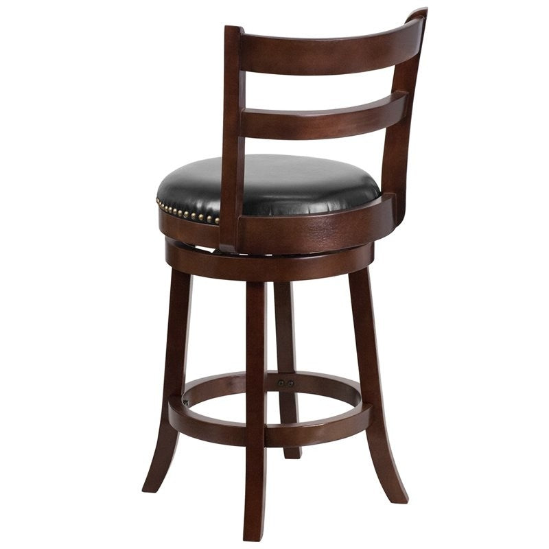 "Dyersburg 26""H Wood Counter Stool Cappuccino, Black Leather Swivel Seat"